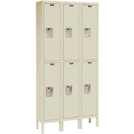 Hallowell U3256-2PT Premium Locker Double Tier 12x15x30 - 6 Door Ready To Assemble - Tan