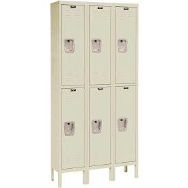 Hallowell U3286-2PT Premium Locker Double Tier 12x18x30 - 6 Door Ready To Assemble - Tan