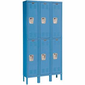 Hallowell U3258-2A-MB Premium Locker Double Tier 12x15x36 6 Door Assembled Blue