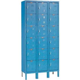 Hallowell U3228-6A-MB Premium Locker Six Tier 12x12x12 18 Door Assembled Blue
