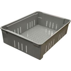 "Molded Fiberglass Toteline Nest and Stack Wash Box 705148 -21-1/8""L x 15-1/8""W x 6""H, Gray"