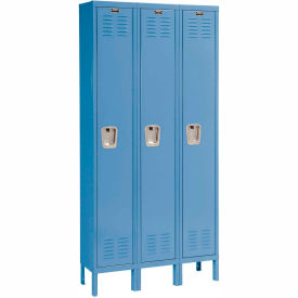 Hallowell U3228-1A-MB Premium Locker Single Tier 12x12x72 3 Door Assembled Blue