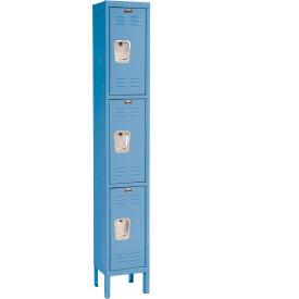 Hallowell U1258-3MB Premium Locker Triple Tier 12x15x24 3 Door Ready To Assemble Blue