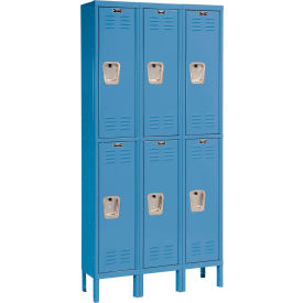 Hallowell U3258-2MB Premium Locker Double Tier 12x15x36 6 Door Ready To Assemble Blue