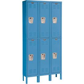 Hallowell U3288-2MB Premium Locker Double Tier 12x18x36 6 Door Ready To Assemble Blue
