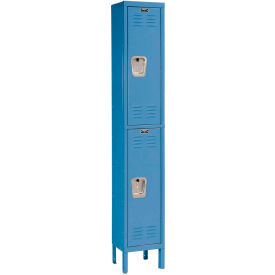 Hallowell U1228-2MB Premium Locker Double Tier 12x12x36 2 Door Ready To Assemble Blue