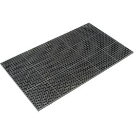 """Cushioned Comfort Drainage Matting 7/8"""" Thick 3'W X 10'L Black Grease Resistant"""