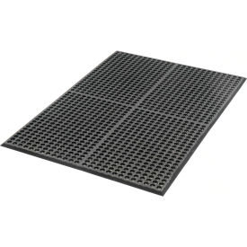 """Extra Value Drainage Matting 1/2"""" Thick 3'Wx5'W Black With Grit Top"""