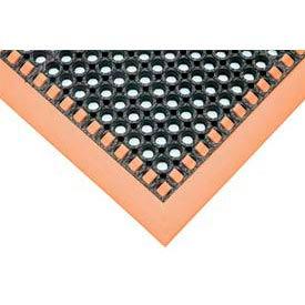 Hi-Visibility Safety Drainage Matting With Grit Top 3-Sided Border 38x124 Orange
