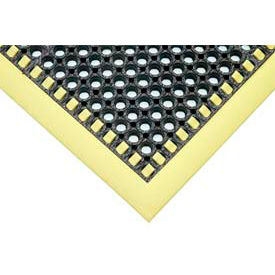Hi-Visibility Safety Drainage Matting With Grit Top 3-Sided Border 38x124 Yellow