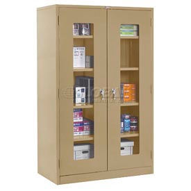 Global™ Clear View Storage Cabinet Assembled 36x18x78 - Tan