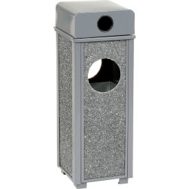 "Global™ Stone Panel Trash Weather Urn Gray 10-1/4"" Square X 28""H"