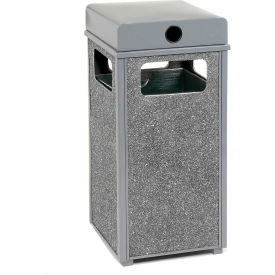 """Global™ Stone Panel Trash Weather Urn Gray 17-1/2"""" Square X 36""""H"""