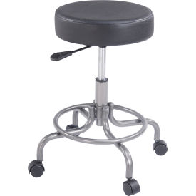 Interion™ Vinyl Upholstered Scooter Stool Without Back Manual Height Adjustment Black