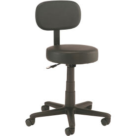 Interion™ All Purpose Vinyl Scooter Stool With Backrest - Black