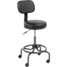 Interion™ Vinyl Upholstered Scooter Stool With Back Manual Height Adjustment - Black