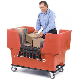 Dandux Red Easy Access 18 Bushel Plastic Mail & Box Truck 51166718R-5S with Cargo Net