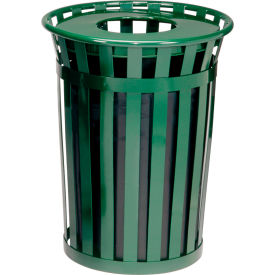Global™ Outdoor Metal Waste Receptacle - 24 Gallon Green