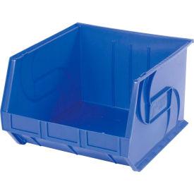 """LEWISBins Plastic Stacking Bin PB1816-11 - 16-1/2""""W x 18""""D x 11""""H, Blue - Pkg Qty 3"""