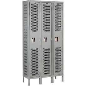 Hallowell U3288-1HDV-HG Heavy-Duty Ventilated Locker Single Tier 12x18x72 3 Door Unassembled - Gray