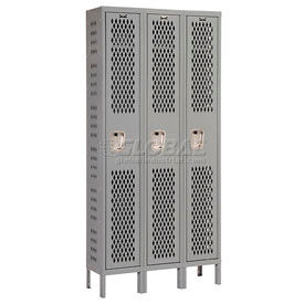 Hallowell U3228-1HV-A-HG Heavy-Duty Ventilated Locker Single Tier 12x12x72 3 Door Assembled