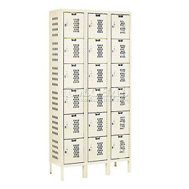 Hallowell U3258-6HDV-PT Heavy-Duty Ventilated Locker Six Tier 12x15x12 18 Door Unassembled