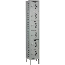 Hallowell U1258-6HV-A-HG Heavy-Duty Ventilated Locker Six Tier 12x15x12 6 Door Assembled - Dark Gray