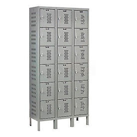 Hallowell U3258-6HV-A-HG Heavy-Duty Ventilated Locker Six Tier 12x15x12 18 Door Assembled Dark Gray