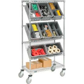"""Easy Access Slant Shelf Chrome Wire Truck 36""""L x 18""""W x 63""""H"""