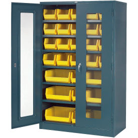 Locking Storage Cabinet Clear Door 48x24x78 With 29 Removable Bins Assembled
