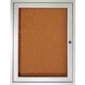 "Ghent® Bulletin Board One Door Aluminum Frame Cork Board 30""W x 36""H"