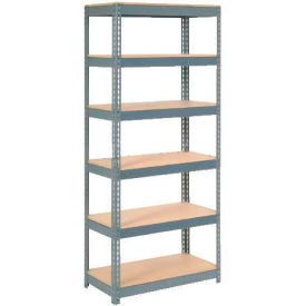 """Extra Heavy Duty Shelving 36""""W x 24""""D x 72""""H With 6 Shelves, Wood Deck"""