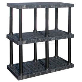 """Structural Plastic Vented Shelving, 48""""W x 24""""D x 51""""H, Black"""