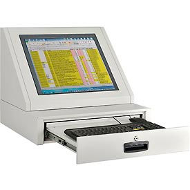 LCD Console Counter Top Security Computer Cabinet - Gray