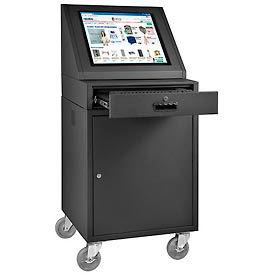 LCD Mobile Console Computer Cabinet - Black