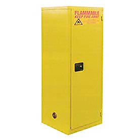 "Global™ Slim Flammable Cabinet BA60YP - Manual Close Single Door 60 Gallon- 23""W x 34""D x 65""H"
