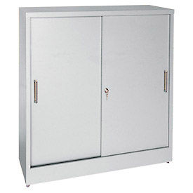 Sandusky Sliding Door Counter Height Storage Cabinets BA1S361829 - 36x18x29, Gray
