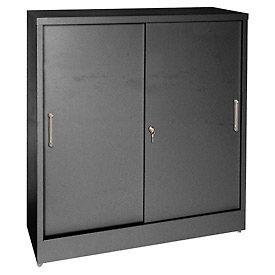 Sandusky Sliding Door Counter Height Storage Cabinets BA2S361842 - 36x18x42, Black