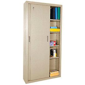 Sandusky Elite Series Sliding Door Storage Cabinets Ba4S361872 - 36X18X72, Tan