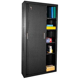 Sandusky Elite Series Sliding Door Storage Cabinets Ba4S361872 - 36X18X72, Black