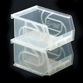 """LEWISBins Plastic Stacking Bin PB74-3CLEAR - 4-1/8""""W x 7-3/8""""D x 3""""H, Clear - Pkg Qty 24"""