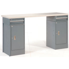 "72"" 2 Drawer / 2 Cabinet Plastic Top Workbench"