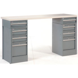 "60"" 8 Drawer Plastic Top Workbench"