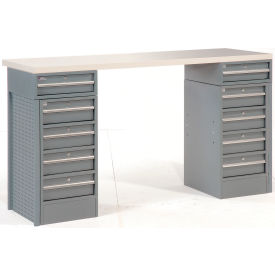 "60"" 10 Drawer Plastic Top Workbench"
