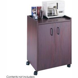 Safco Wood Mobile Refreshment Center Cart, Mahogany - 8953MH