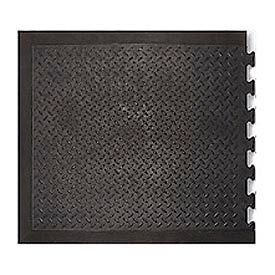 "Modular Diamond Top Rubber Matting End Tile 1/2"" Thick 28""X31"" Black"