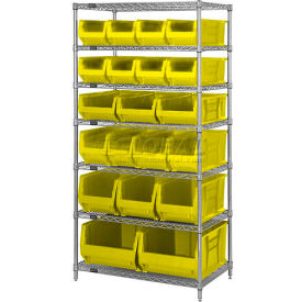 """Quantum WR7-20-MIXYL Chrome Wire Shelving With 20 24""""D Bins Yellow, 36x24x74"""