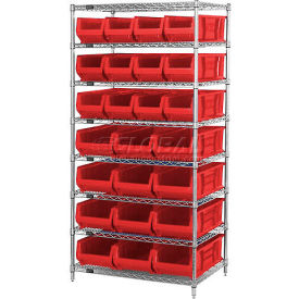 """Quantum WR7-20-MIXRD Chrome Wire Shelving With 20 24""""D Bins Red, 36x24x74"""