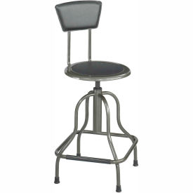 Safco® High Base Stool with Backrest - Steel - Silver