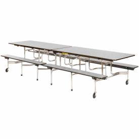 "Virco® MTB172910 Folding Roll-A-Way Table 120""L Gray Nebula Top Seats 12"